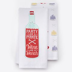 Local Life 'Party Like A Pirate' Kitchen Towel 2 pk