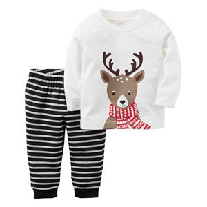 Baby Boy Carter's Reindeer Top & Striped Pants Set