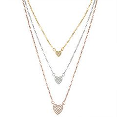 Tri-Tone Sterling Silver Cubic Zirconia Heart Layered Necklace
