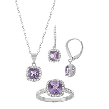 Sterling Silver Amethyst & Lab-Created White Sapphire Halo Jewelry Set