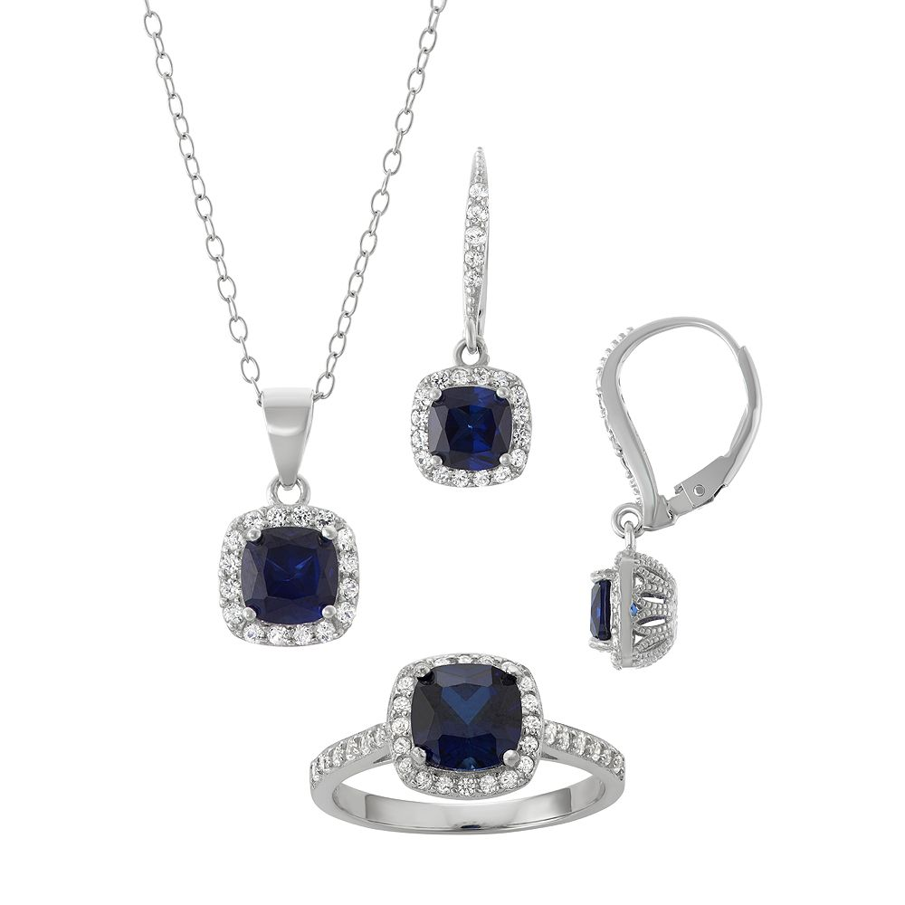 1839c7ef7 Sterling Silver Lab-Created Blue & White Sapphire Halo Jewelry Set
