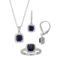 Sterling Silver Lab-Created Blue & White Sapphire Halo Jewelry Set