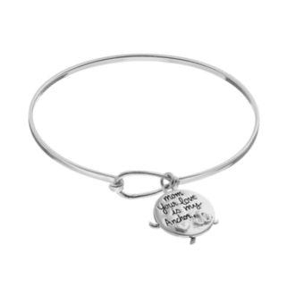 "Silver LuxuriesMarcasite ""Mom"" Disc Charm Bangle Bracelet"
