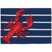 Liora Manne Frontporch Lobster on Stripes Indoor Outdoor Rug