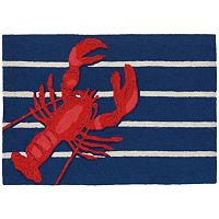 Trans Ocean Imports Liora Manne Frontporch Lobster on Stripes Indoor Outdoor Rug
