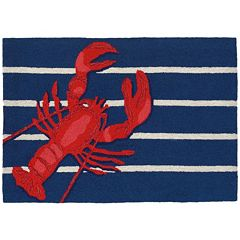 Liora Manne Frontporch Lobster on Stripes Indoor Outdoor Rug