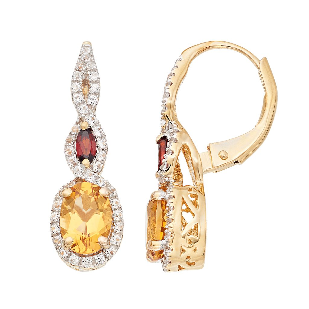 14k Gold Over Silver Citrine, Garnet & Lab-Created White Sapphire Drop Earrings