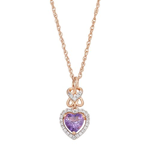 14k Rose Gold Over Silver Amethyst & Lab-Created White Sapphire Heart Halo Pendant