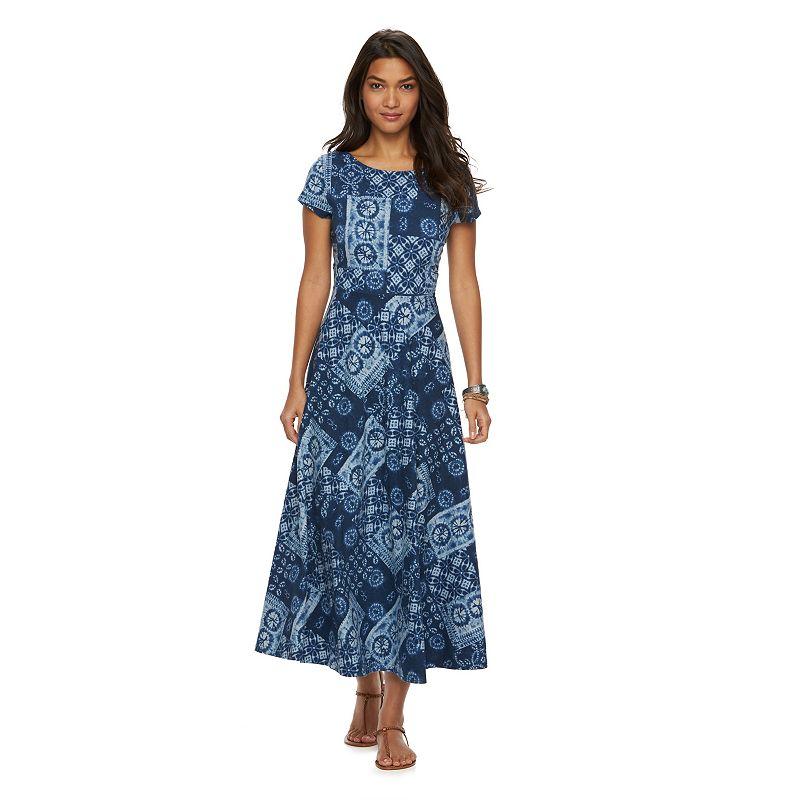 Women's Chaps Patchwork Boatneck A-Line Maxi Dress