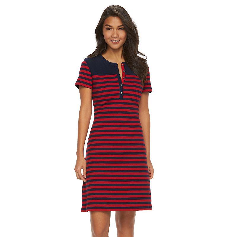 Women's Chaps Striped Squareneck T-Shirt Dress