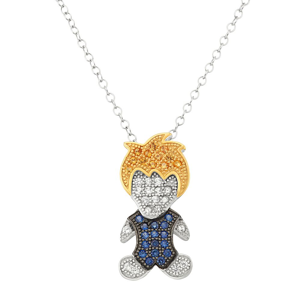 Tri-Tone Sterling Silver Lab-Created Sapphire Boy Pendant Necklace