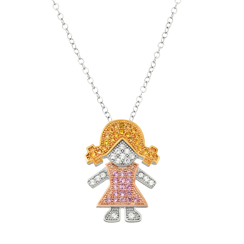 Tri-Tone Sterling Silver Lab-Created Sapphire Girl Pendant Necklace