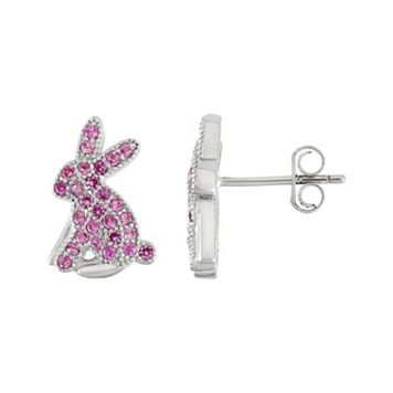 Sterling Silver Lab-Created Pink Sapphire Bunny Stud Earrings