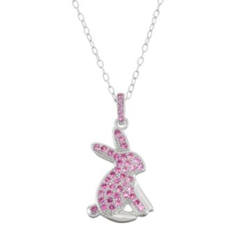 Sterling Silver Lab-Created Pink Sapphire Bunny Pendant Necklace