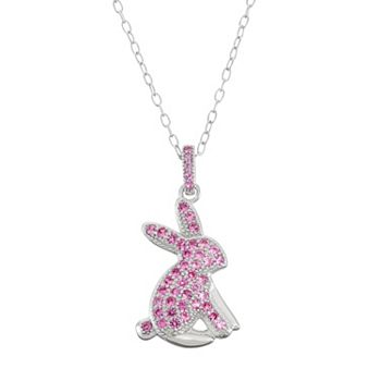 Sterling silver lab created pink sapphire bunny pendant necklace aloadofball Images