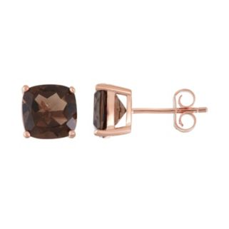 18k Rose Gold Over Silver Smoky Quartz Stud Earrings
