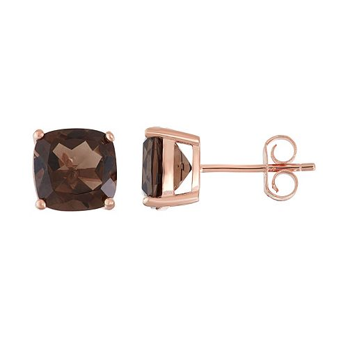 18k Rose Gold Over Silver Smoky Quartz Stud Earrings