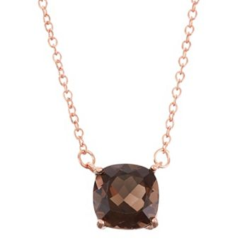 18k Rose Gold Over Silver Smoky Quartz Necklace