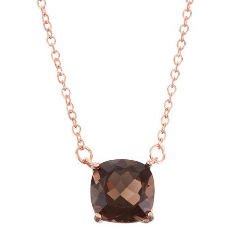 18k Rose Gold Over Silver Smoky Quartz Necklace
