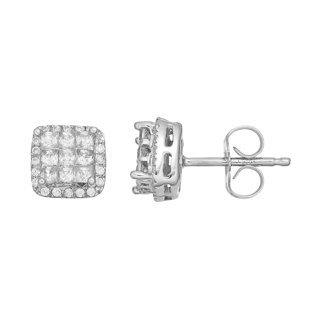 10k White Gold 1/2 Carat T.W. Square Halo Stud Earrings