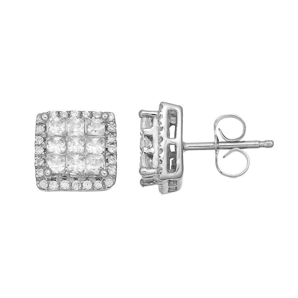 10k White Gold 1 Carat T.W. Square Halo Stud Earrings