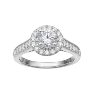 14k White Gold 1 1/4 Carat T.W. IGL Certified Diamond Halo Engagement Ring