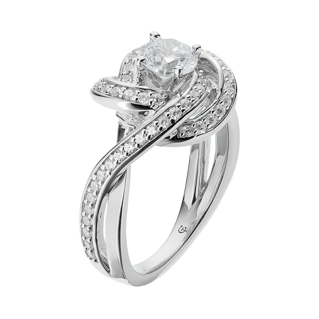 14k White Gold 1 1/4 Carat T.W. IGL Certified Diamond Swirl Engagement Ring