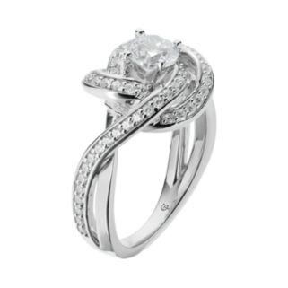 14k White Gold 1 1/4 Carat T.W. IGL Certified Diamond Swirl Engagement Ring