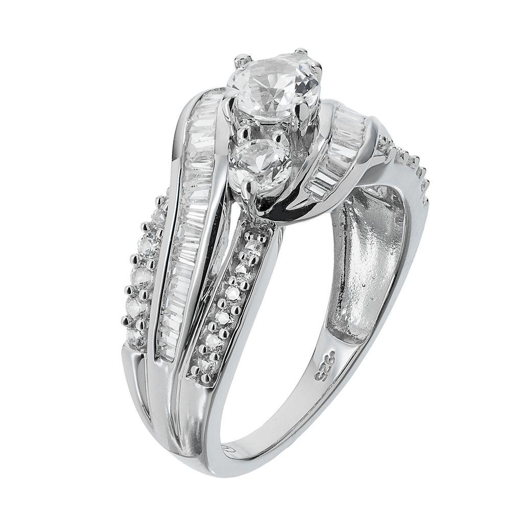 14k White Gold 1 1/2 Carat T.W. IGL Certified Diamond 3-Stone Engagement Ring