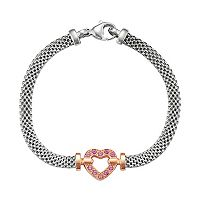 Two Tone Sterling Silver Lab-Created Pink Sapphire Heart Bracelet