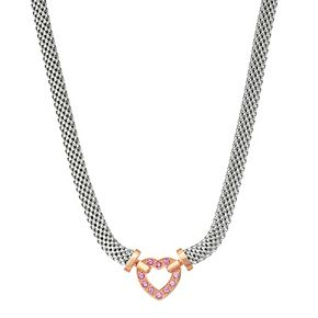 Two Tone Sterling Silver Lab-Created Pink Sapphire Heart Necklace