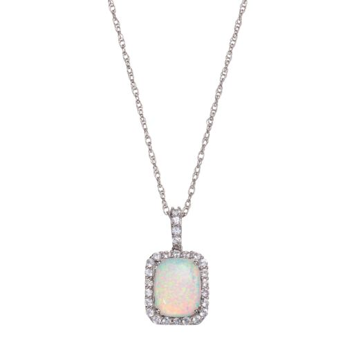 Sterling Silver Lab-Created Opal & Lab-Created White Sapphire Cushion Halo Pendant