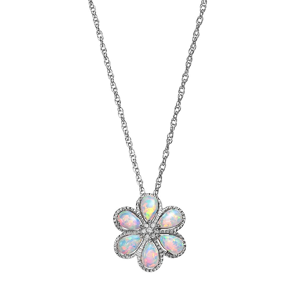 Sterling Silver Lab-Created Opal & Lab-Created White Sapphire Flower Pendant