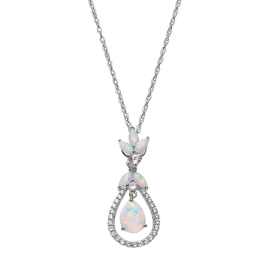 Sterling Silver Lab-Created Opal & Lab-Created White Sapphire Floating Teardrop Pendant