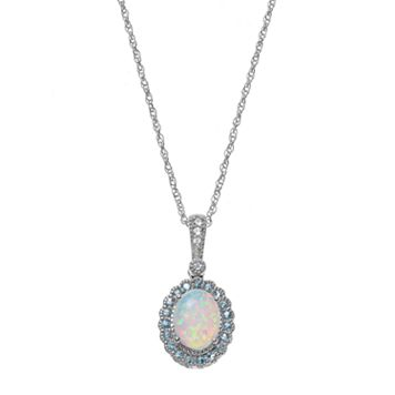 Sterling Silver Lab-Created Opal & Blue Topaz Oval Halo Pendant