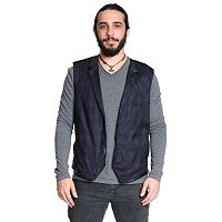 Men's Excelled Faux-Leather Trim Plaid Vest