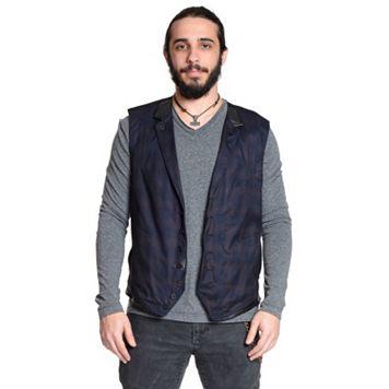 Men's Excelled Faux-Leather Trim Plaid Vest