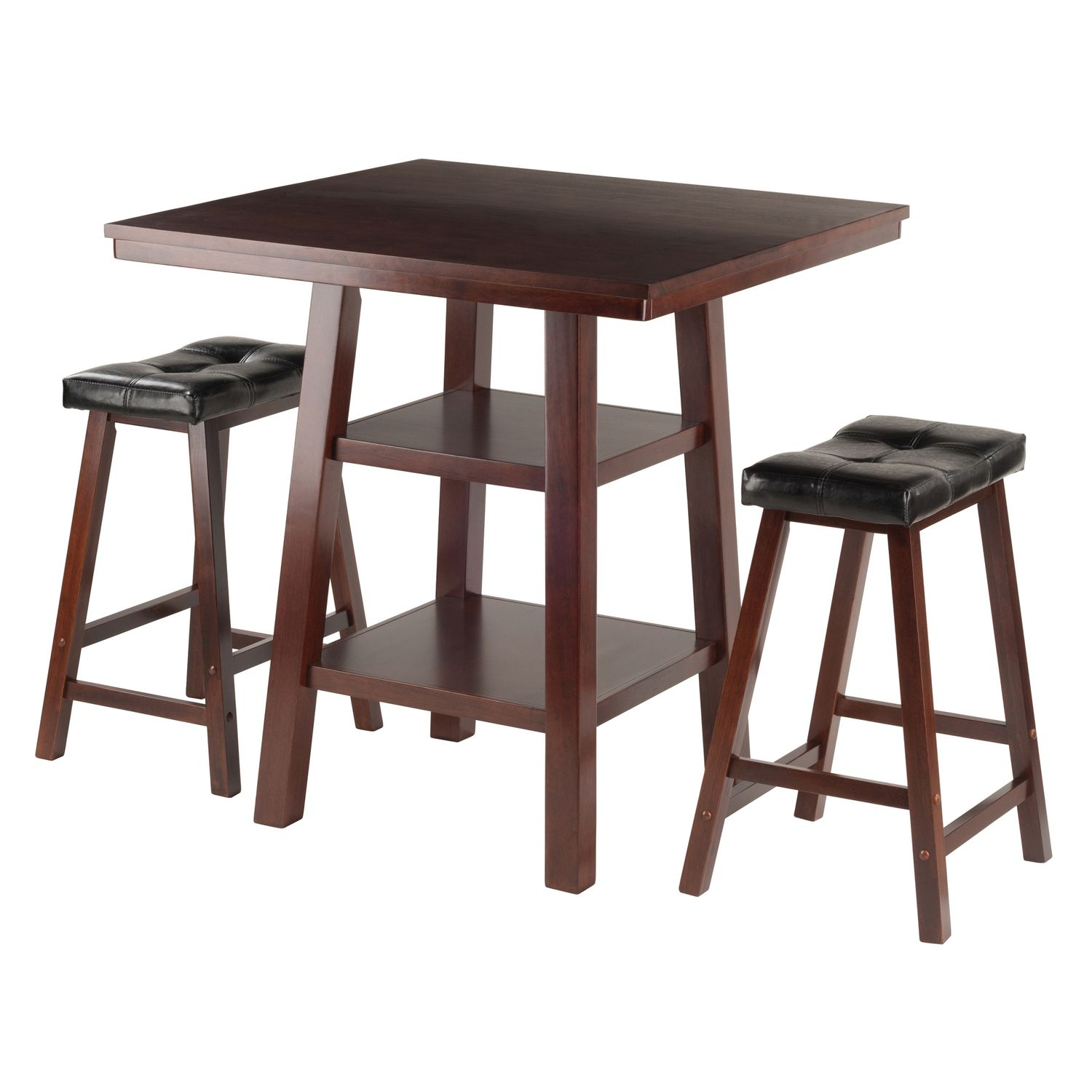 winsome orlando high table u0026 padded stool 3piece set