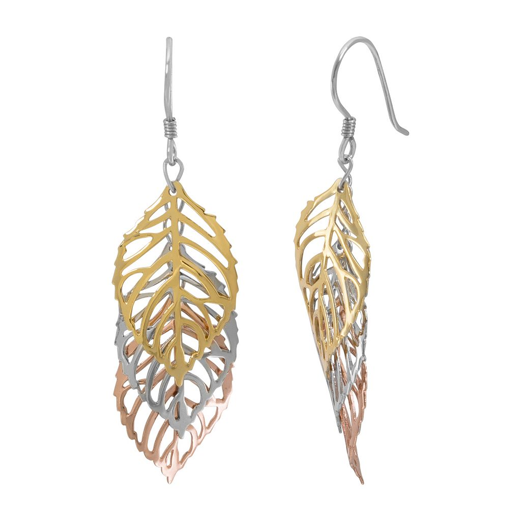Silver Classics Tri Tone Sterling Silver Openwork Leaf Drop Earrings