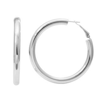 Silver Classics Sterling Silver Tube Hoop Earrings