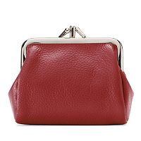 Buxton Hudson Pik-Me-Up Triple Frame Leather Kiss-Lock Pouch