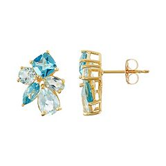 18k Gold Over Silver Sky Blue Topaz & Swiss Blue Topaz Cluster Stud Earrings
