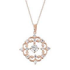 18k Rose Gold Over Silver Lab-Created White Sapphire Filigree Pendant