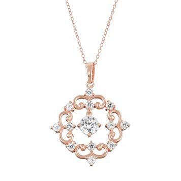 18k Rose Gold Over Silver Lab-Created White Sapphire Filigree Pendant