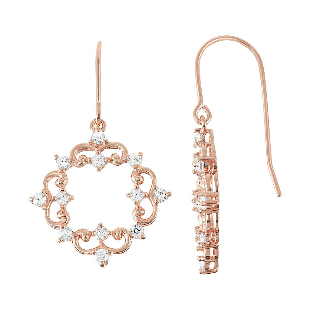 18k Rose Gold Over Silver Lab-Created White Sapphire Filigree Drop Earrings