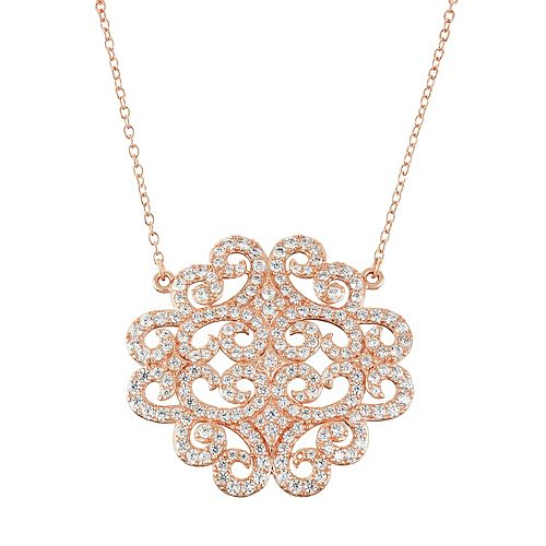 18k Rose Gold Over Silver Lab-Created White Sapphire Filigree Necklace