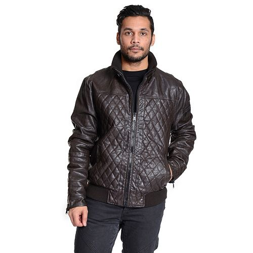 Men's Excelled Faux-Leather Bomber Jacket