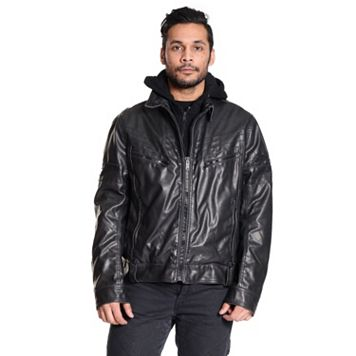 Men's Excelled Faux-Leather Hooded Jacket