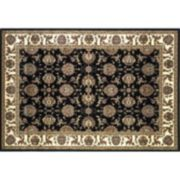 KAS Rugs Cambridge Kashan Framed Floral Black Ivory Rug