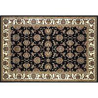 KAS Rugs Cambridge Kashan Framed Floral Black Ivory Rug